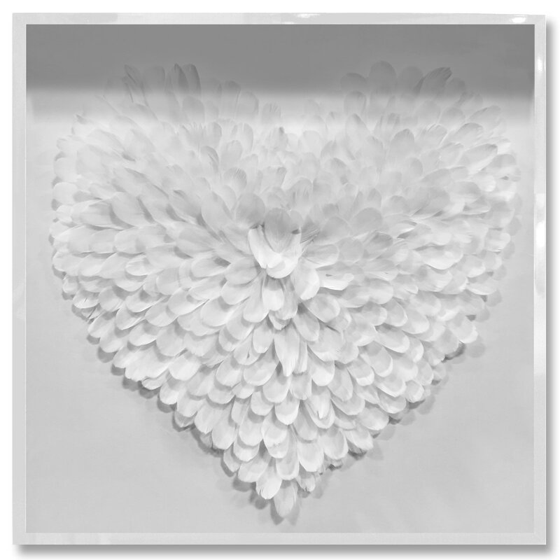 House Of Hampton White Feather Heart Framed Painting Print