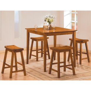 Magdalena 5 Piece Counter Height Solid Wood Dining Set