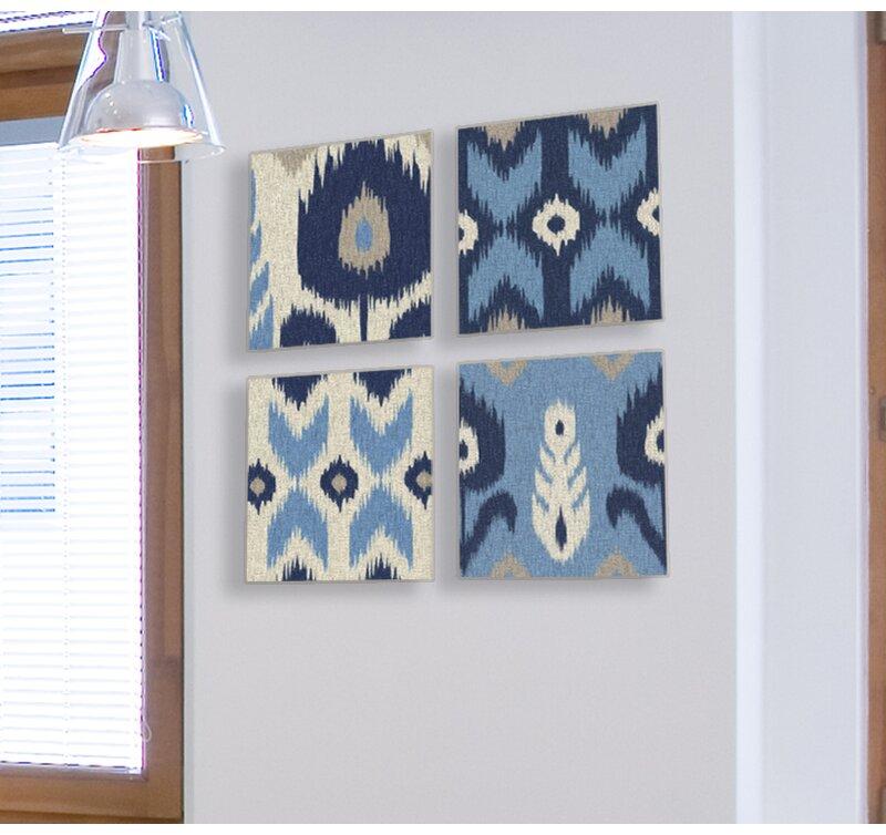 Stupell Industries Alternating Ikat Design 4 Piece Canvas Wall Art ...