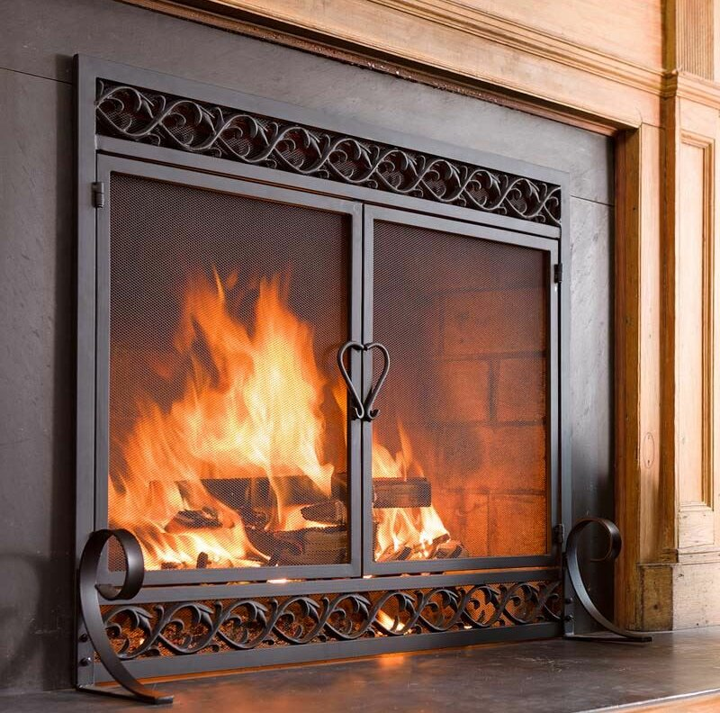 fold deluxe wrought iron p black uniflame screen htm fireplace