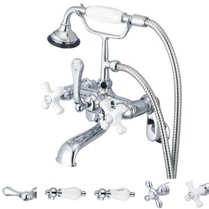 Stonington Adjustable Center Wall Mount Tub Faucet With Swivel Wall Connector & Handheld Shower