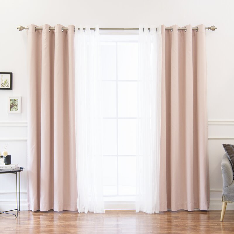 Mix and match tulle solid blackout thermal grommet single for Mix and match curtains colors