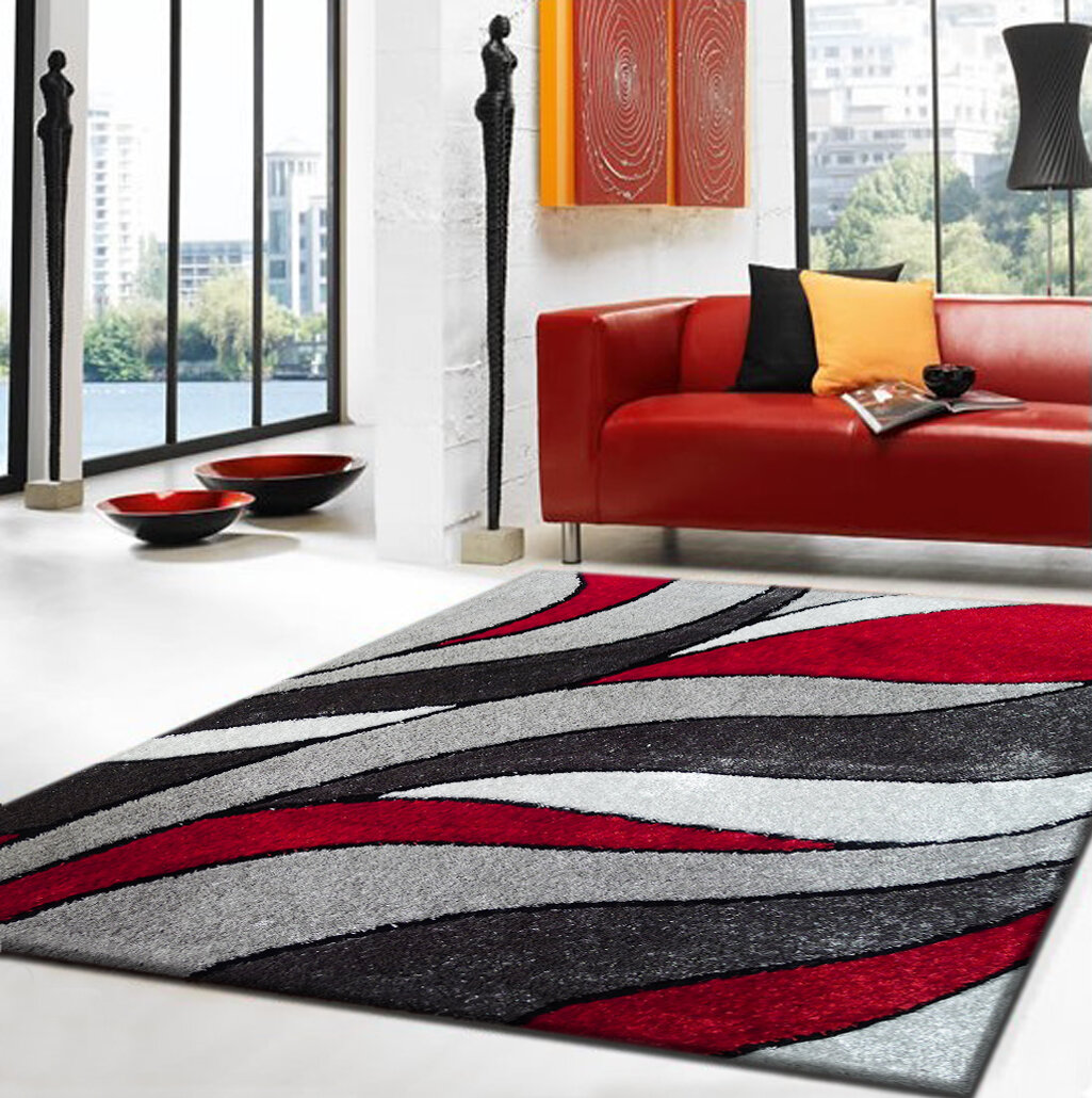 Rug Factory Plus Lola Hand Tufted Gray Red Area Rug