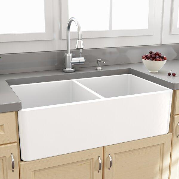 Farmhouse 33 X 18 Double Bowl Kitchen Sink With Grids Reviews Joss Main