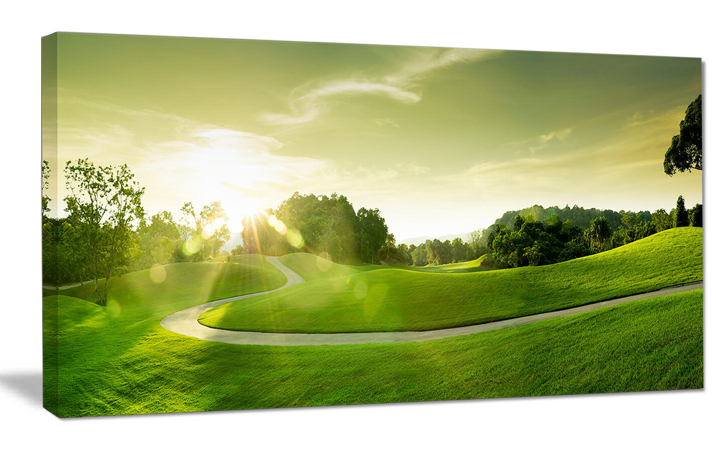 DesignArt \'Green Valley Panorama\' Photographic Print on Wrapped ...