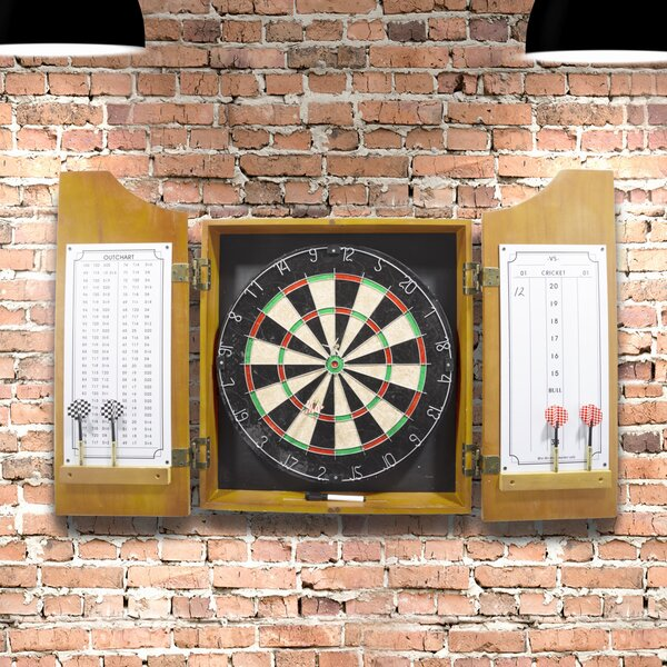 Trademark Games Solid Wood Dart Cabinet With Dartboard And