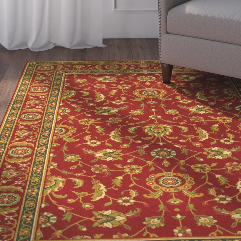 Alcott Hill Decatur Red/Yellow Area Rug, Size: Rectangle 66 x 910
