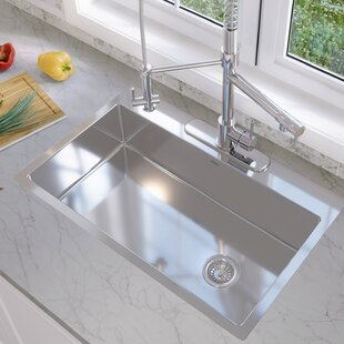 valencia series 33 x 22 dual mount kitchen sink with basket strainer - Drop In Kitchen Sink