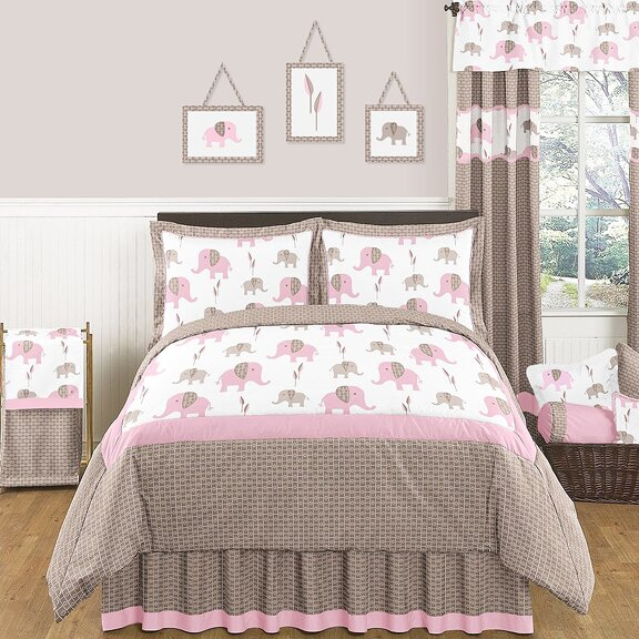 Pink And Taupe Mod Elephant Comforter Collection