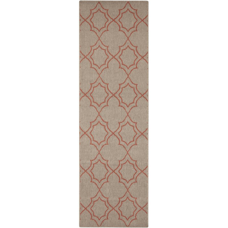Alcott Hill Amato Taupe/Cherry Indoor/Outdoor Area Rug, Size: Runner 23 x 119