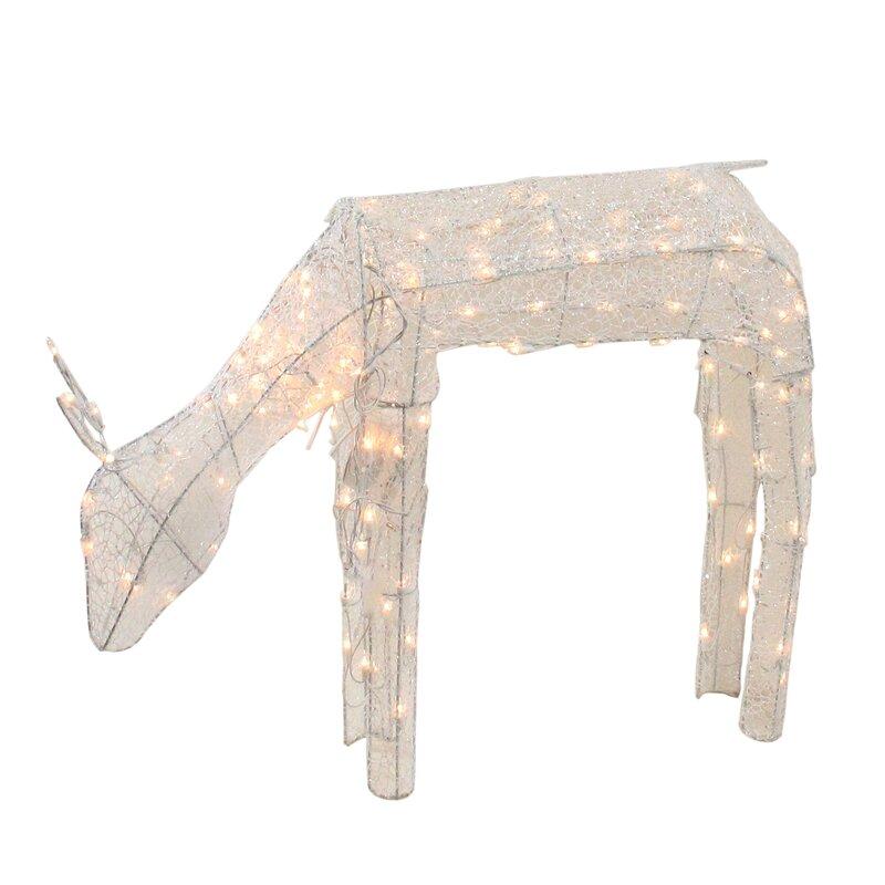 "LB International 42"" Animated Crystal 3 D Feeding Doe Reindeer Lighted Christmas Decoration   Wayfair"