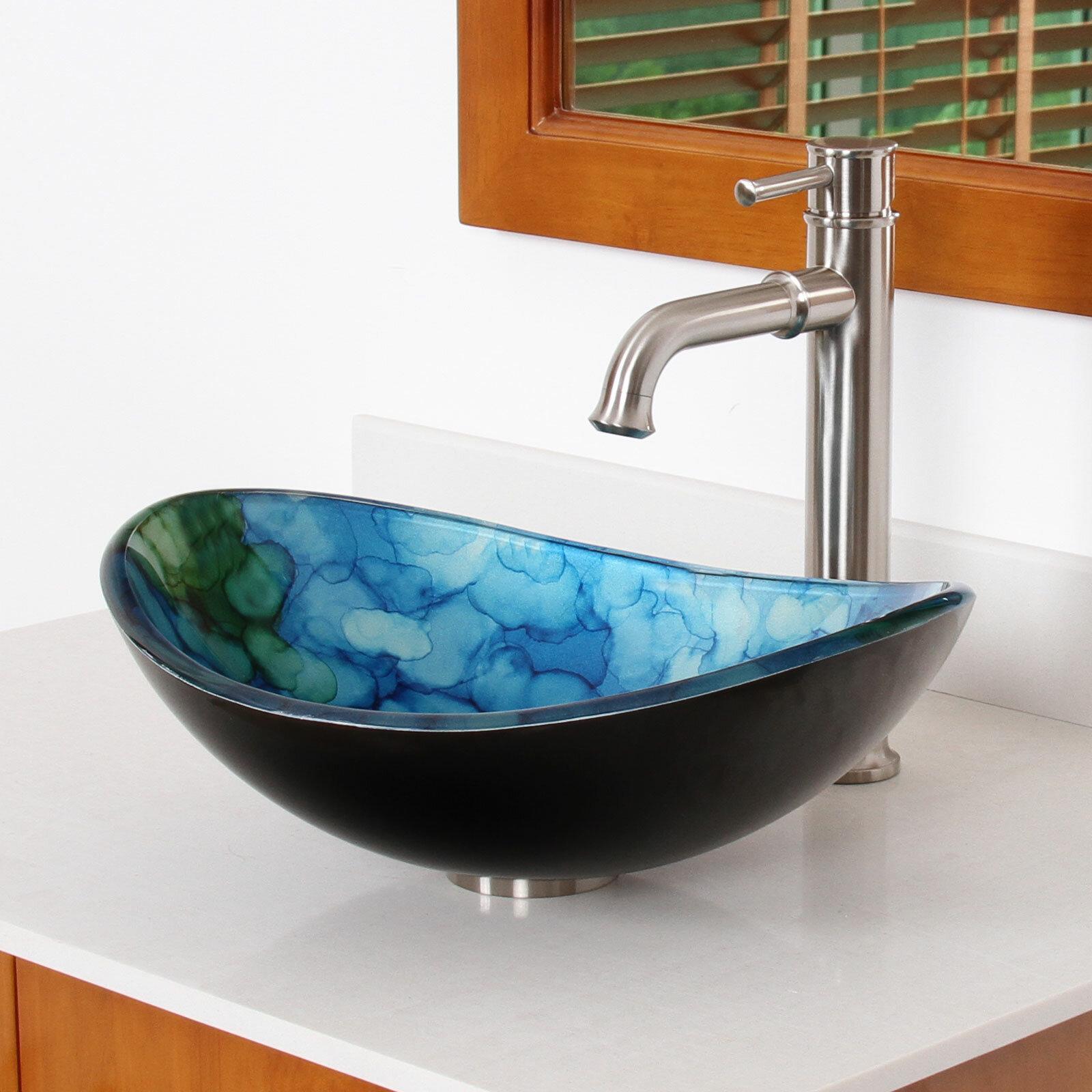 Elite Hand Painted Watercolor Boat Gl Oval Vessel Bathroom Sink Wayfair