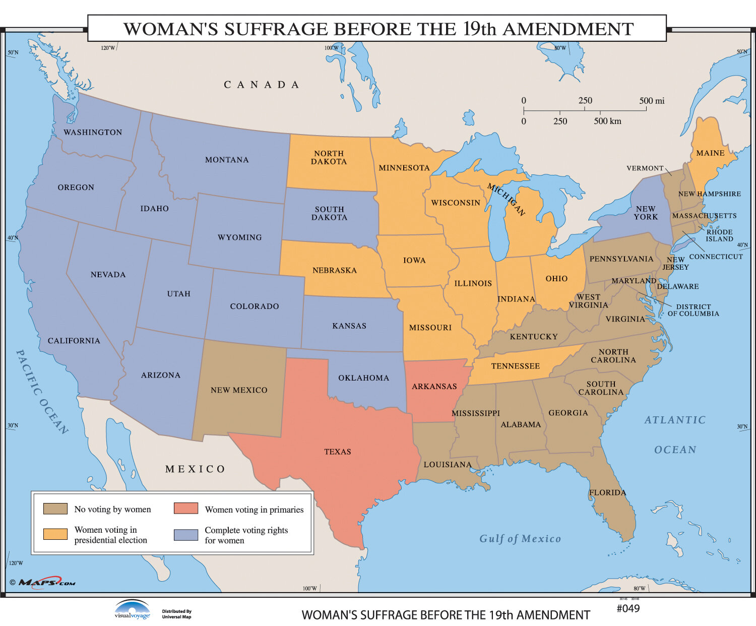 Universal Map U.S. History Wall Maps - Woman\'s Suffrage Before 19th ...