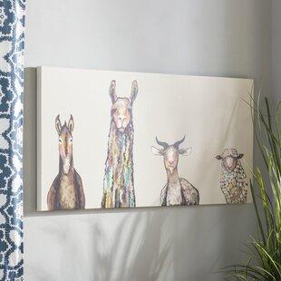 u0027Donkey Llama Goat Sheepu0027 Acrylic Painting Print on Canvas in Cream & Kidsu0027 Wall Art u0026 Nursery Art