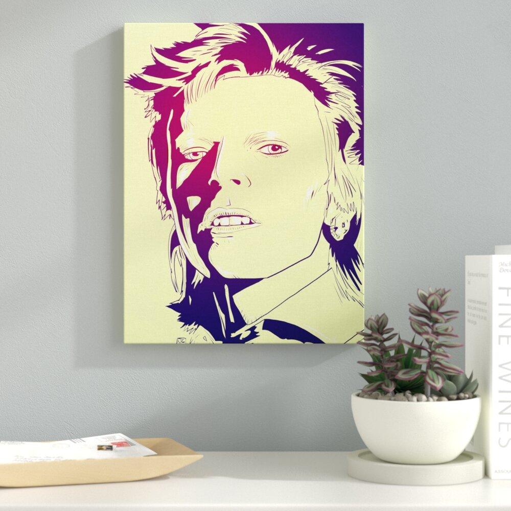 Ebern Designs \'David Bowie\' Graphic Art Print on Canvas | Wayfair