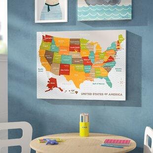 Lovely Jorden Wood Grain US Map Canvas Art