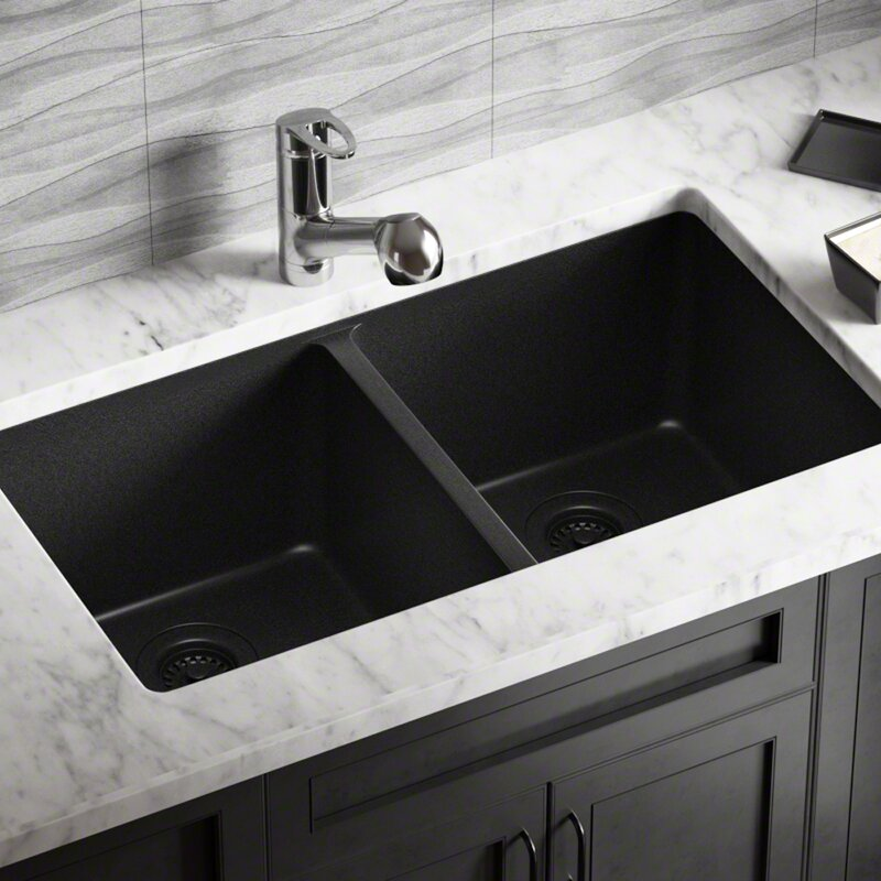 Granite Composite 32 L X 19 W Double Basin Undermount Kitchen Sink With Strainers
