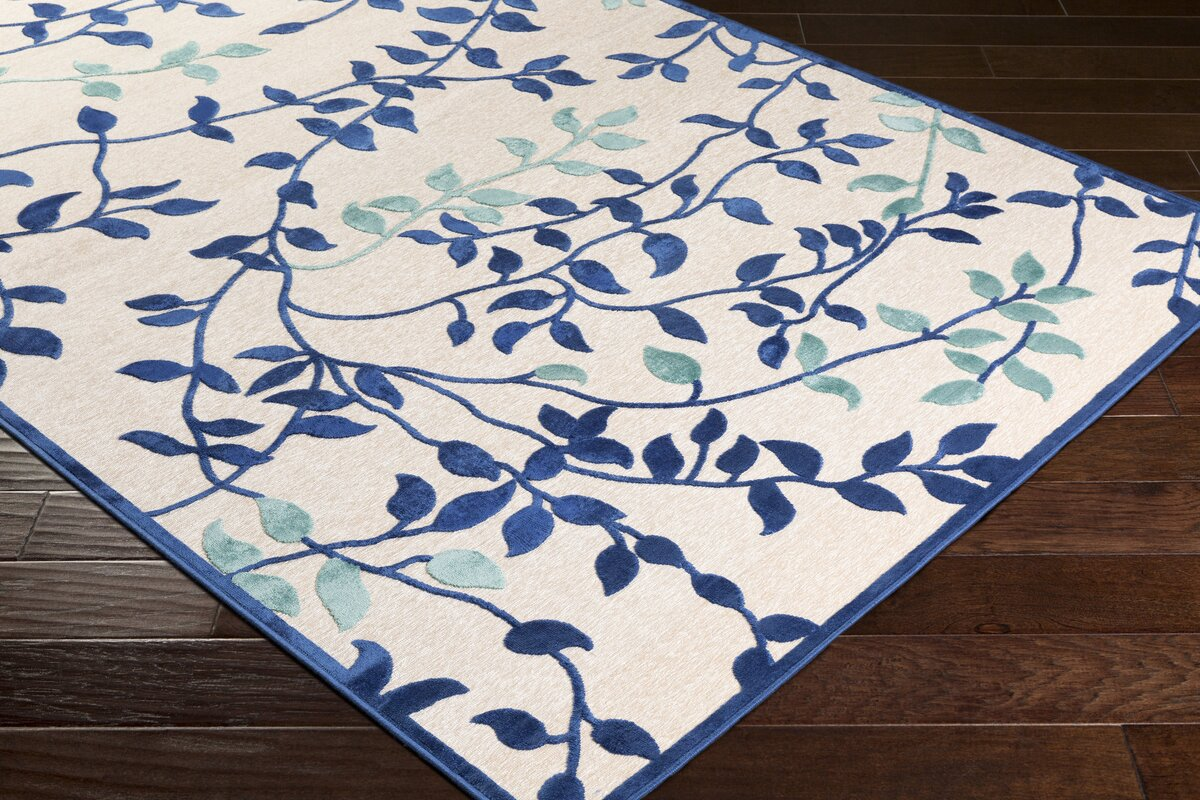 Winston porter holoman transitional floral bright blue for Bright floral area rugs