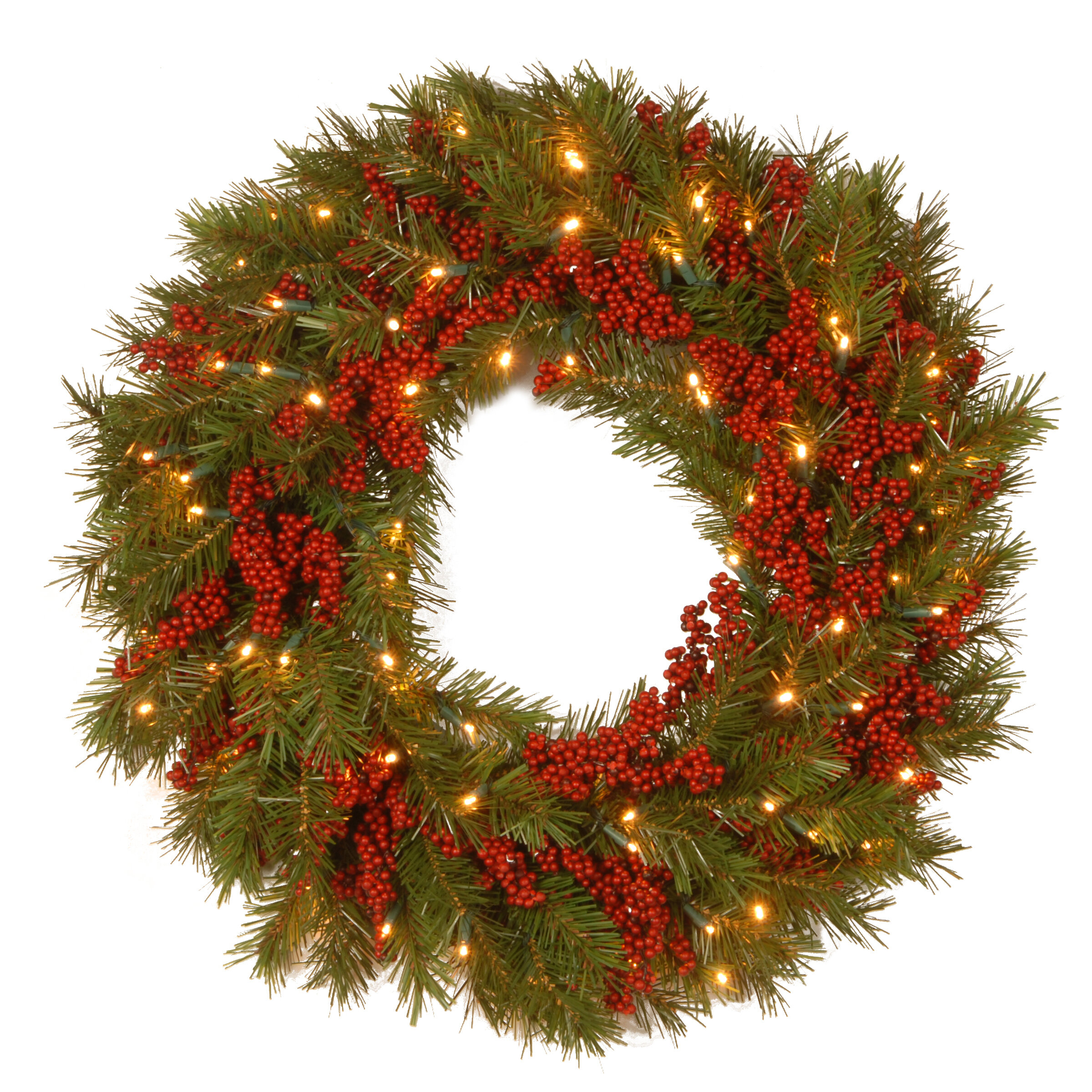 the holiday aisle decorative pre lit valley pine wreath with 50 battery operated white led lights reviews wayfair - Pre Lit Christmas Wreaths Battery Operated