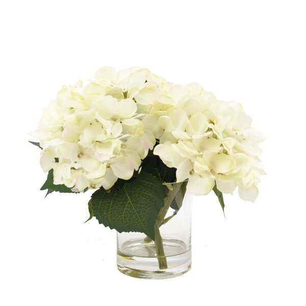 White Hydrangea In Glass Vase Wayfair
