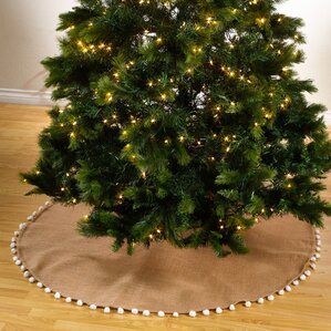 patton pompom design jute christmas stocking tree skirt - Christmas Tree Skirts