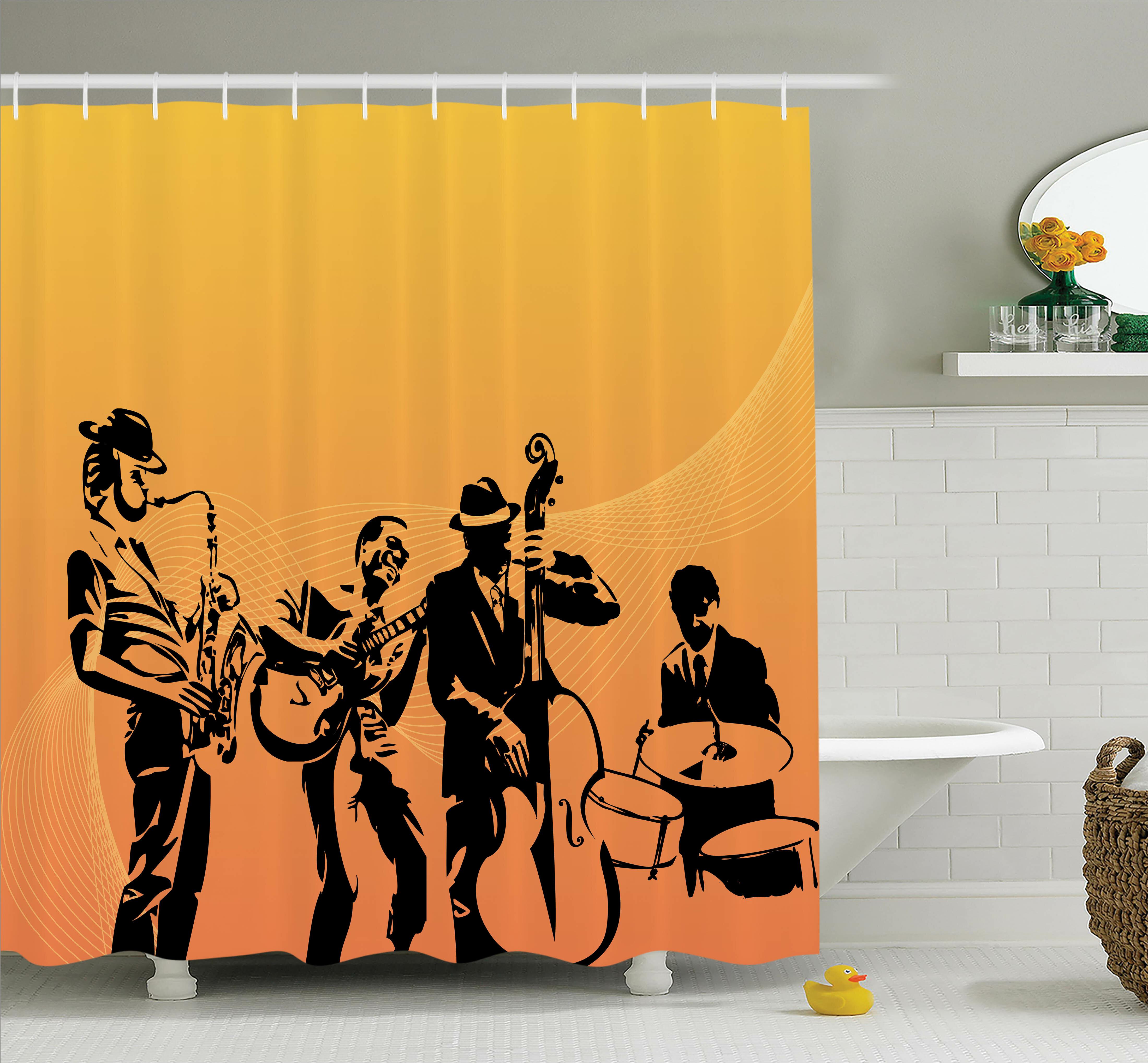Ambesonne Music Jazz Band Concert Shower Curtain Set