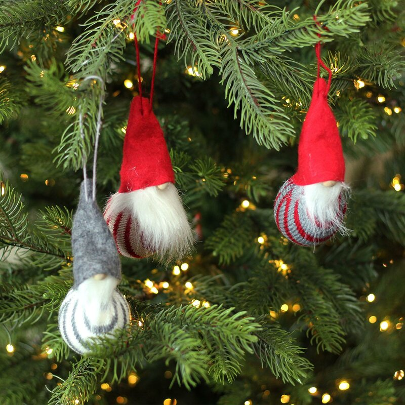 Decorative Santa Gnome Christmas Ornaments Hanging Figurine Set - The Holiday Aisle Decorative Santa Gnome Christmas Ornaments Hanging