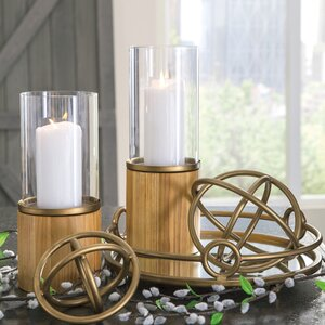 5 Piece Metal Hurricane Candle Holder Set