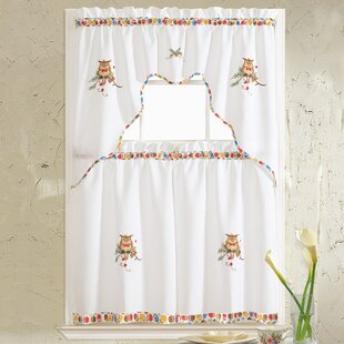 Grand Owl Embroidered Kitchen Curtain