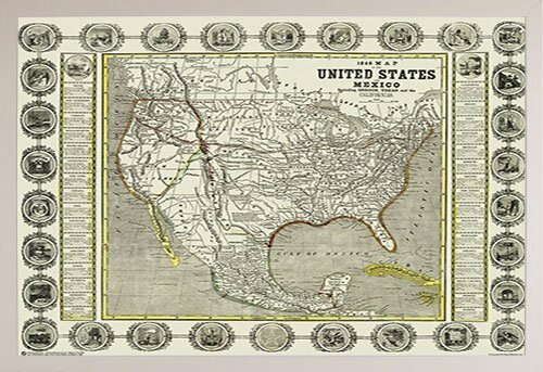 Poster Of Usa Map.Frame Usa Map Of The United States And Mexico 1846 Framed Graphic