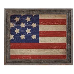 1d343396163  American Flag on Wood Horizontal  Framed Graphic Art