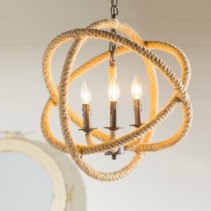 Melodi Rope Enclosed 3-Light Candle-Style Chandelier