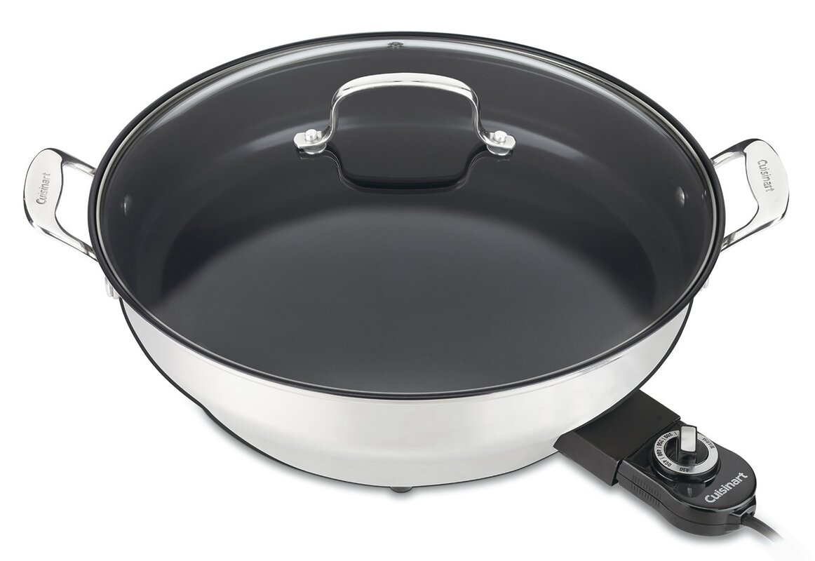 """Green Gourmet Cookware 14"""" Electric Skillet with Lid"""