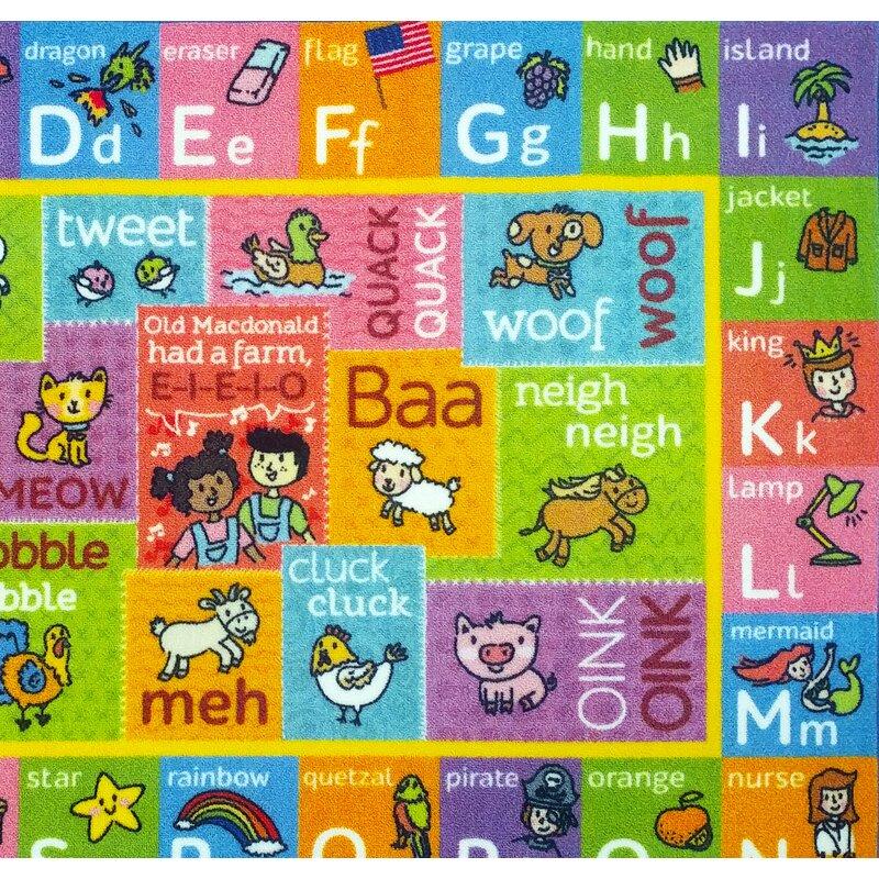 Perreira ABC Alphabet Green/Pink Indoor/Outdoor Area Rug