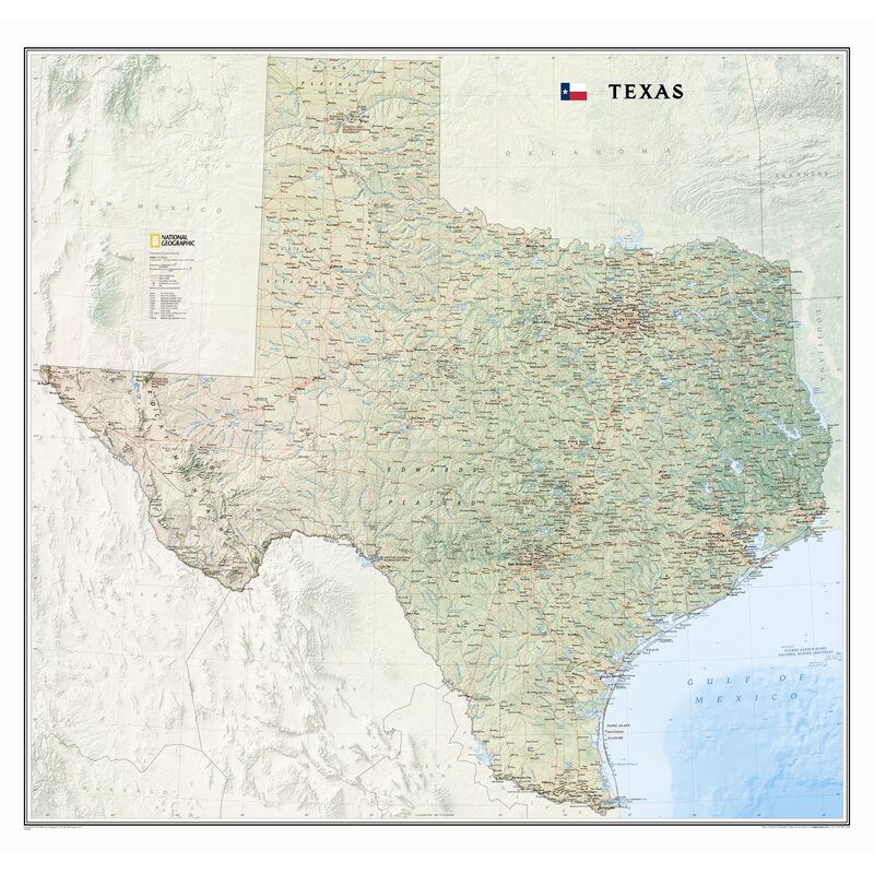 The Map Of Texas State.National Geographic Maps Texas State Wall Map Reviews Wayfair