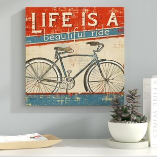 555c0e8e0f82 Fun Vintage-Style  Life is a Beautiful Ride  Graphic Art Print on Canvas