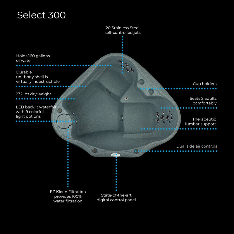 select 300 2-person plug and play hot tub with 20 stainless jets and led