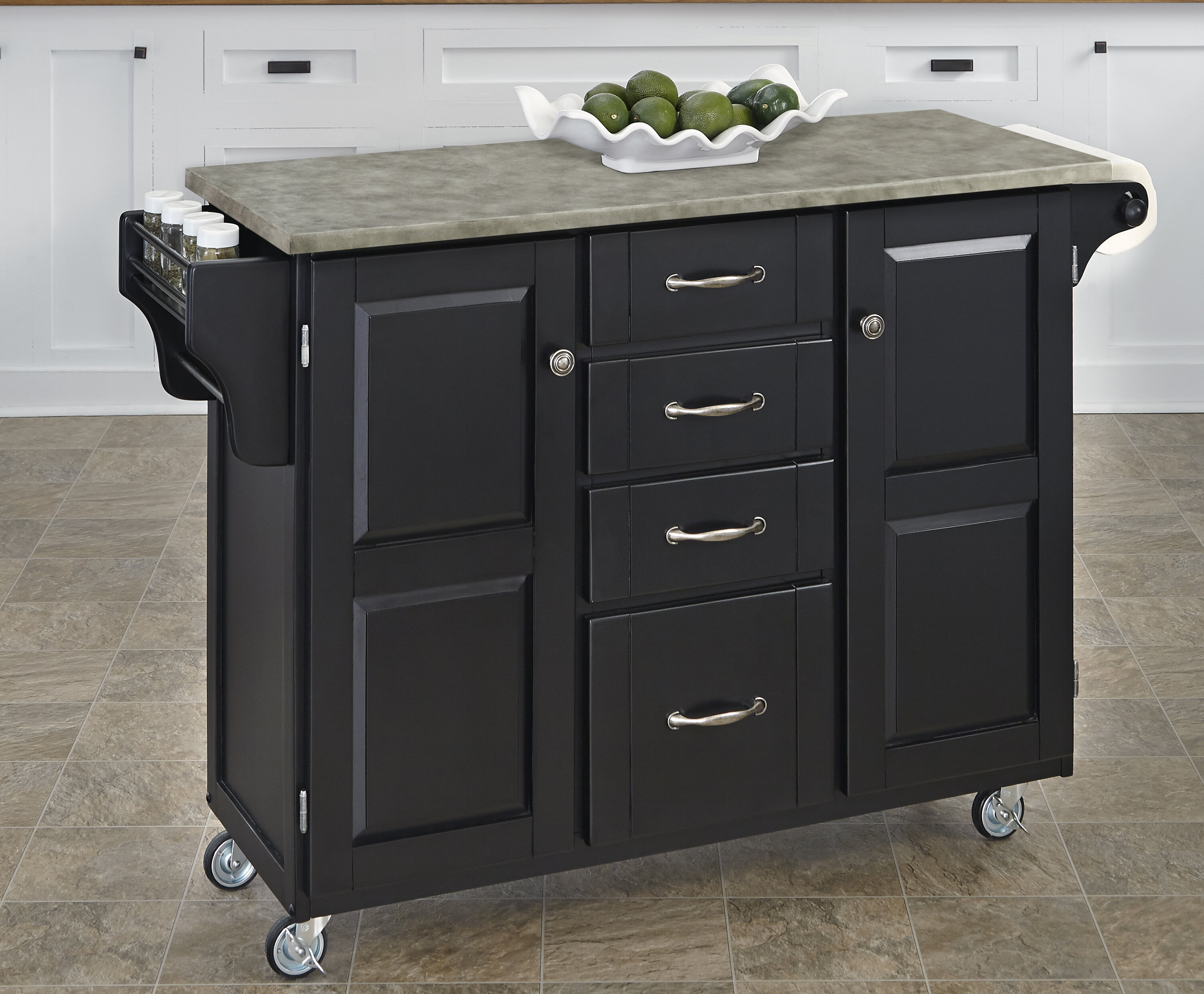 Home Styles Create-a-Cart Kitchen Island with Concrete Top & Reviews ...
