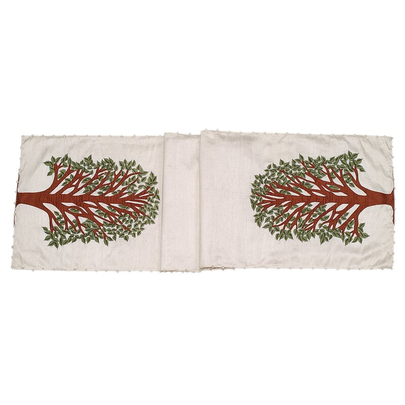 Arcadia Home Tree of Life Table Runner  Color: Ivory