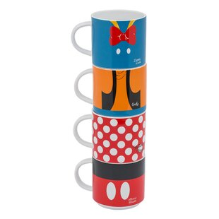 Disney Mickey And Friends Stacking 4 Piece Coffee Mug Set