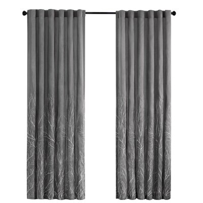 August Grove Gladeview Nature/Floral Room Darkening Rod Pocket Single Curtain Panel Color: Charcoal, Size per Panel: 50 W x 108 L