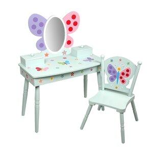 Olive Erfly Garden Kids Vanity Set With Mirror