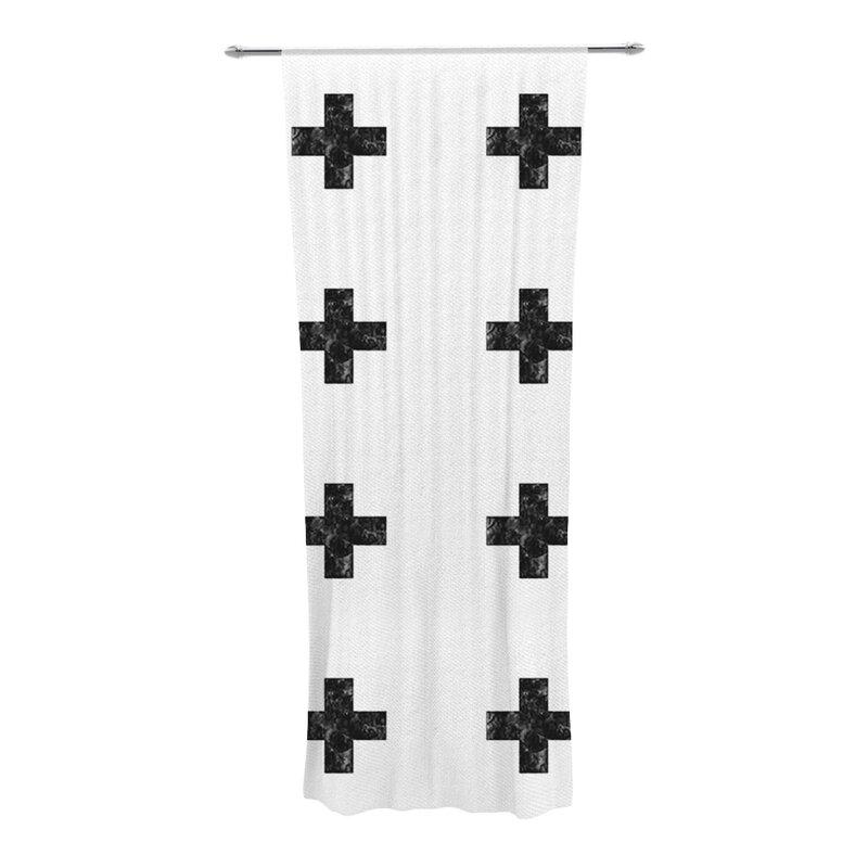 kess inhouse swiss cross geometric semi-sheer curtain panels