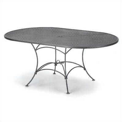 Elegant Mesh Top Set Up Oval Wrought Iron Dining Table