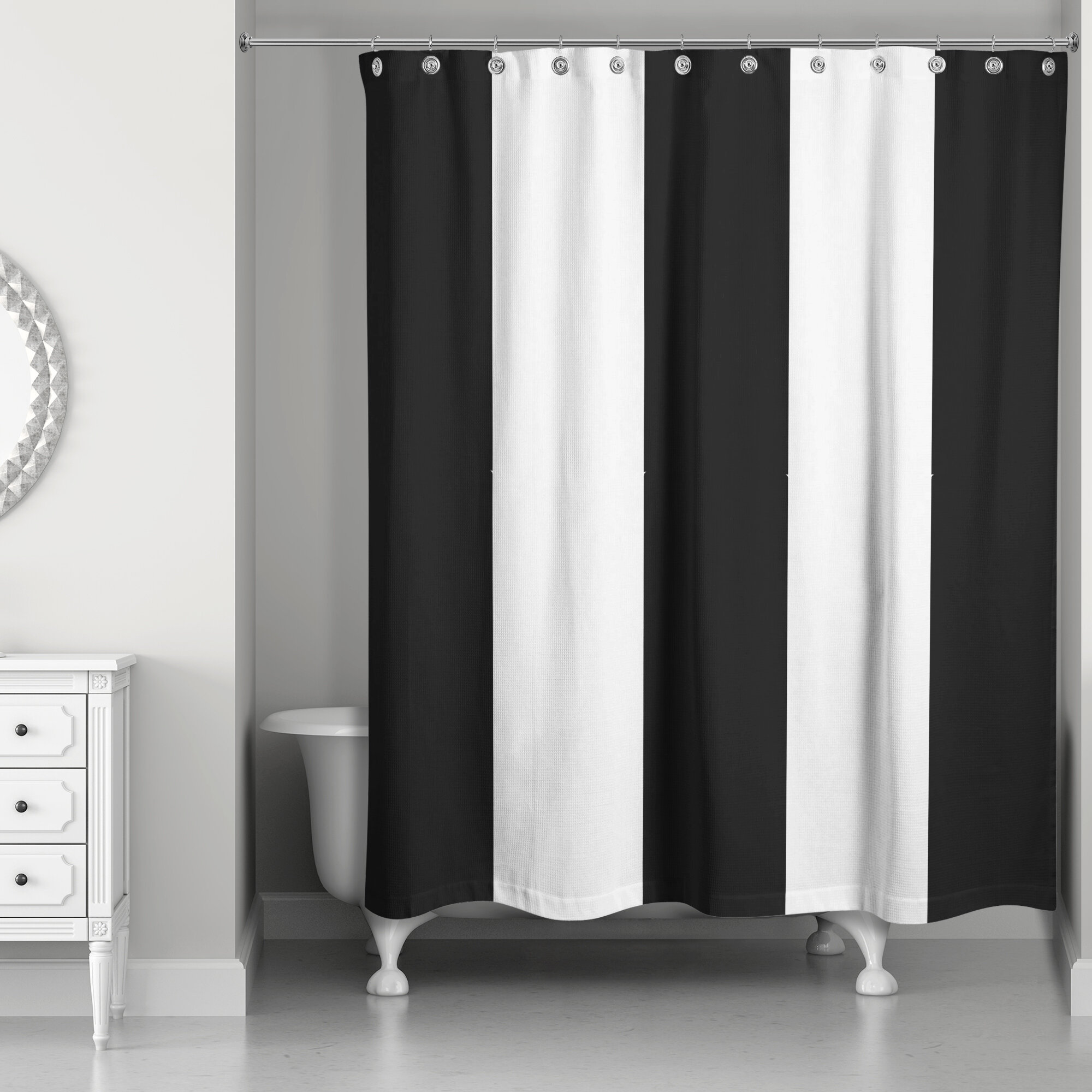 Orren Ellis Pelaez Vertical Striped Shower Curtain