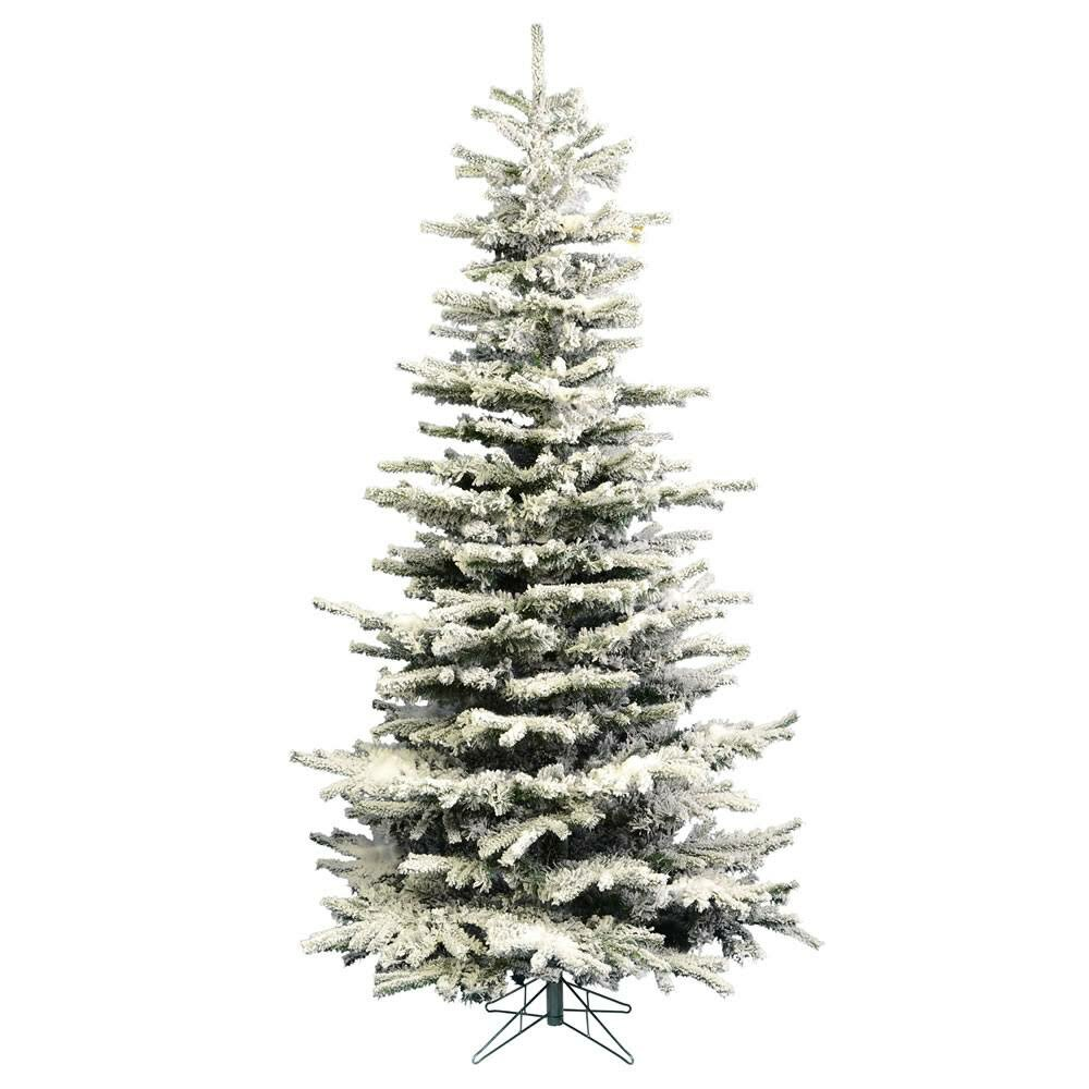 The Holiday Aisle Heavy Flocked Slim Green/White Artificial ...