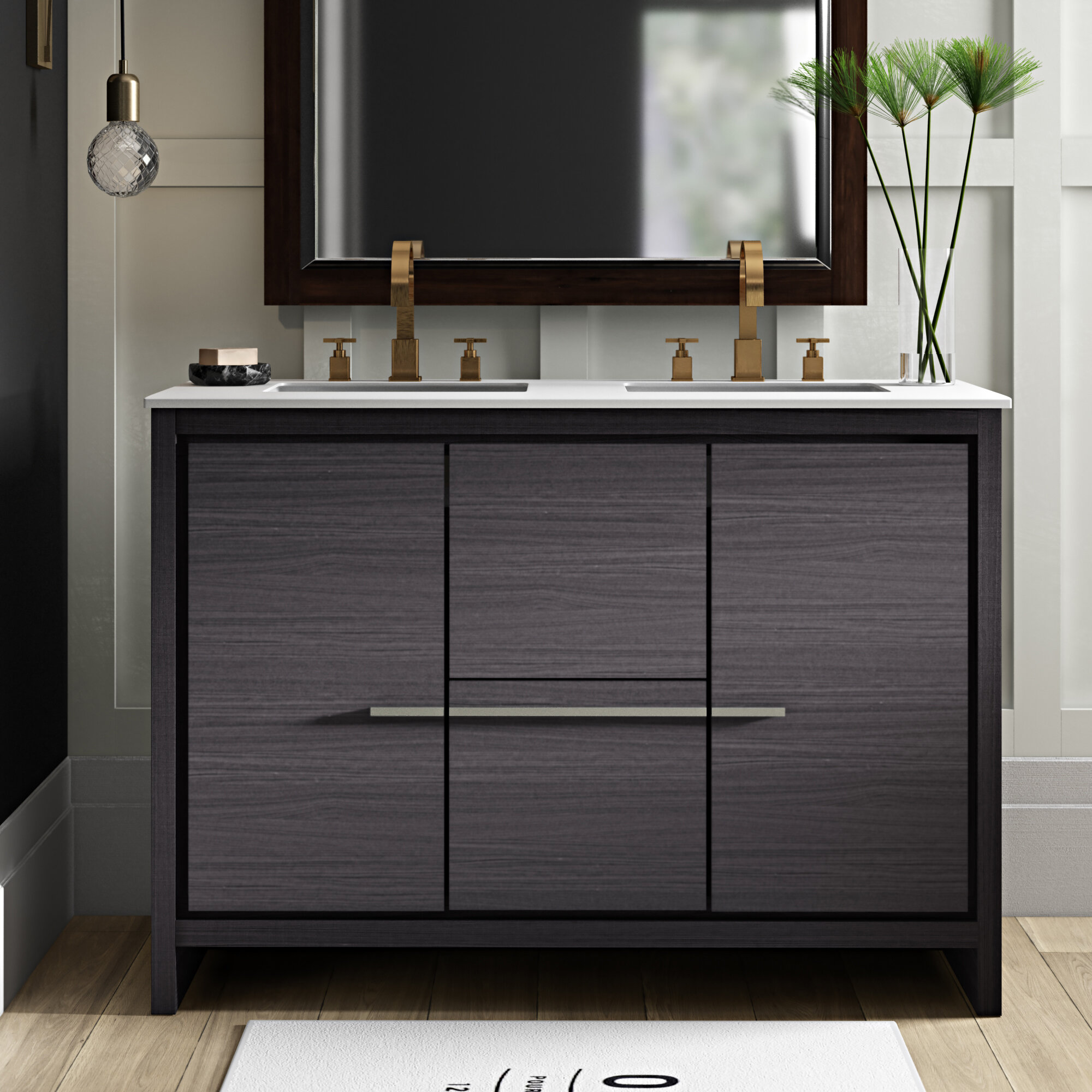 Superb Bosley 48 Double Sink Modern Bathroom Vanity Set Download Free Architecture Designs Xoliawazosbritishbridgeorg