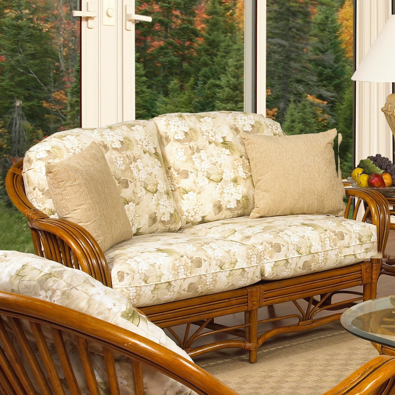 Boca rattan antigua leather loveseat wayfair for Antigua wicker chaise