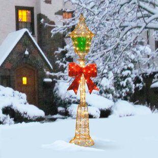 decorative dcor pre lit lamp post christmas decoration - Outdoor Christmas Lamp Post Decoration