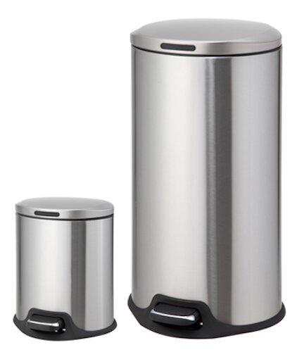 homezone 2 piece stainless steel step on trash can set u0026 reviews wayfair